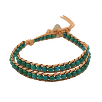 Jt Turquoise Chan Luu style beaded leather double bracelet