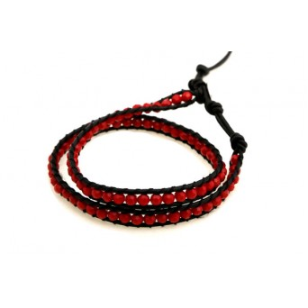 Jt Red Chan Luu style beaded leather bracelet