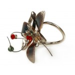 Krini Silver flower ring with multicolor Swarovski crystals