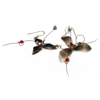 Krini Handmade silver flower Swarovski hook earrings