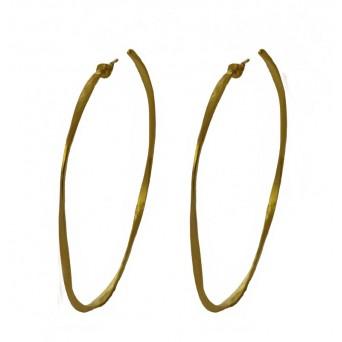 Krini Gold plated silver medium curved hoop earrings 5,5cm
