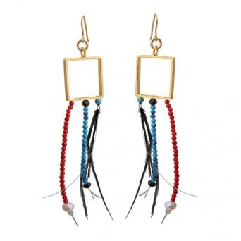 Krini Aσημένια σκουλαρίκια τετράγωνα με φτερά και Swarovski