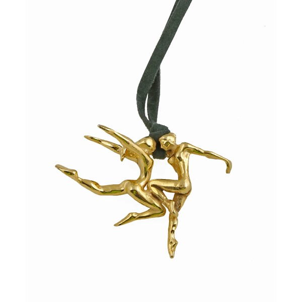 Krini Handmade bronze dancers necklace with suede cord