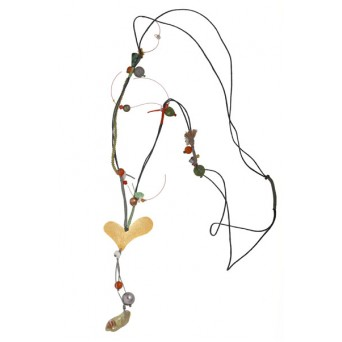 Krini Handmade silver and bronze heart beaded necklace