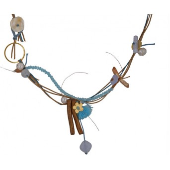 Krini  Silver braided necklace with semi-precious stones and Swarovski