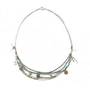 Krini Silver boho multi-strand coin necklace with turquoise