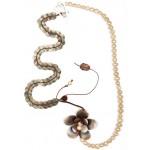 Krini Handmade silver flower beaded necklace