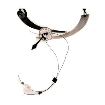 Krini Handmade silver vintage clock necklace