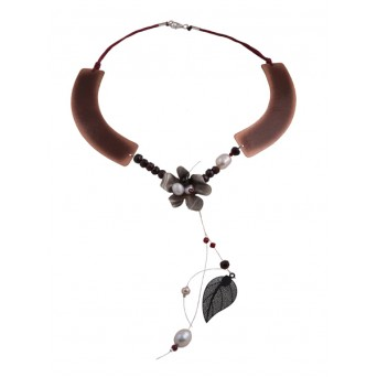 Krini Handmade silver and copper flower necklace