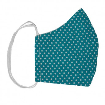 Jt Handmade cloth face mask blue petrol polka dot