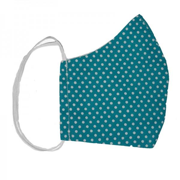 Jt Handmade cloth face mask blue petrol polka dot