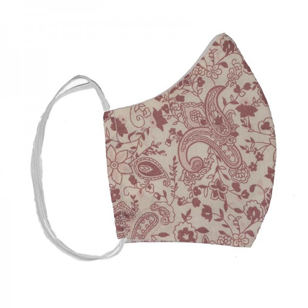 JtHandmade cloth face mask white pink flowers and paisley
