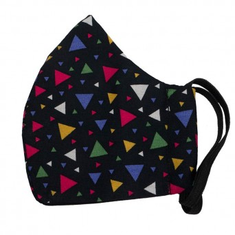 Jt Handmade fabric vintage 80s face mask with triangles