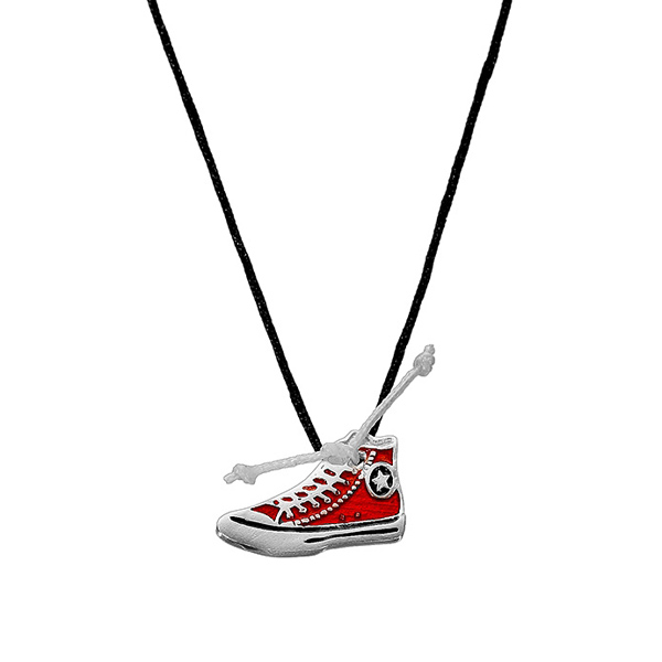 Onirolithi Silver All Star necklace with black cord
