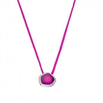 Onirolithi Polygonal fuchsia silver necklace with enamel
