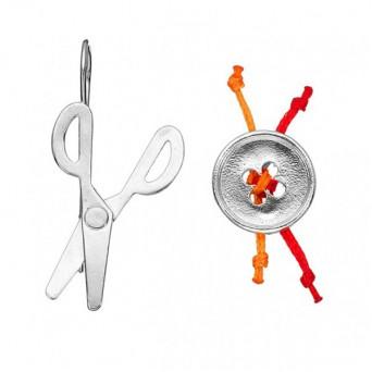 Onirolithi Ασημένια σκουλαρίκια ψαλίδι και κουμπί