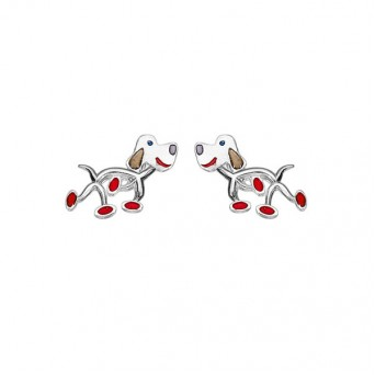 Onirolithi Silver dogs stud earrings