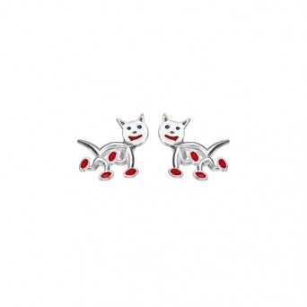 Onirolithi Silver cats stud earrings