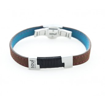 Onirolithi Men`s Stainless Steel Leather ID Soul Bracelet