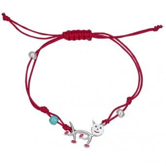 Onirolithi Silver cat macrame bracelet