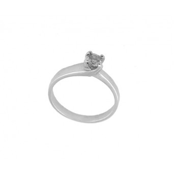 Cr Silver polished solitaire ring with white zircon