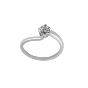 Cr Solitaire silver ring with white zircon 5mm