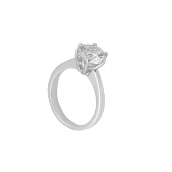 Cr Silver solitaire ring with white zircon 8mm