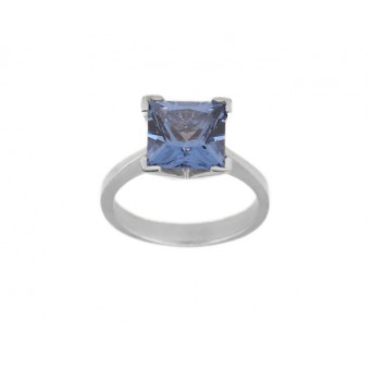 Cr solitaire silver ring with cubic blue zircon