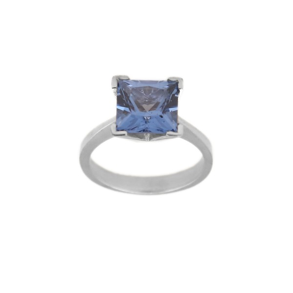 Jt solitaire silver ring with cubic blue zircon