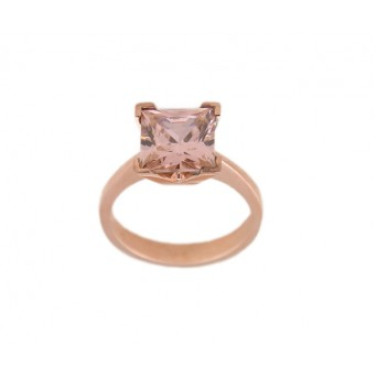 Jt solitaire silver ring with cubic pink zircon