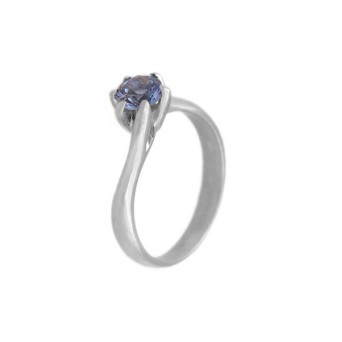 Jt Solitaire sterling silver ring with blue zircon