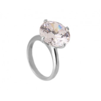 Jt solitaire silver ring with big white zircon 14mm
