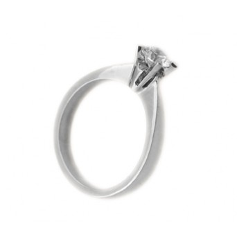 Cr Solitaire silver ring with white zircon 4mm