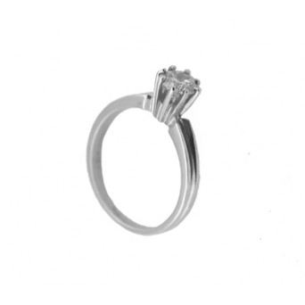 Cr Silver solitaire ring with white zircon 5mm