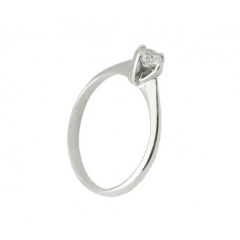 Cr Silver solitaire ring with white zircon 4mm