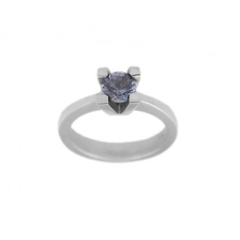 Cr solitaire sterling silver ring with blue zircon