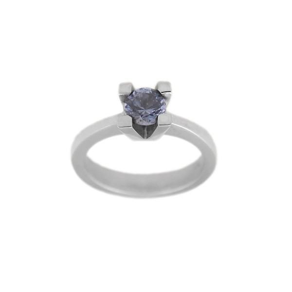 Rallias solitaire sterling silver ring with blue zircon