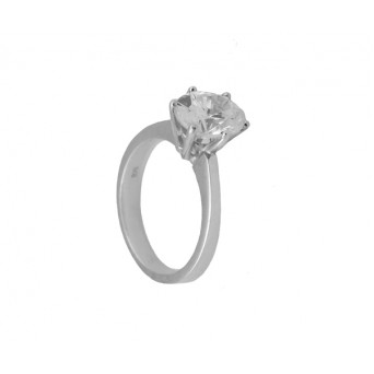 Cr Silver solitaire ring with oval white zircon