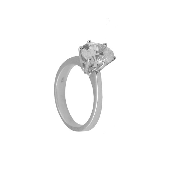 Jt Solitaire engagement ring in 14K white gold and zircon
