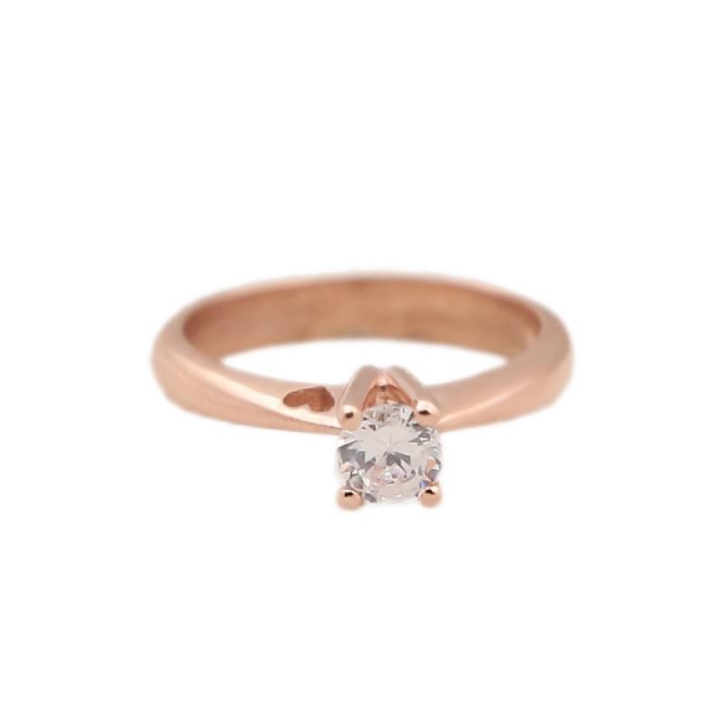 Jt Μονόπετρο δαχτυλίδι καρδιά με ροζ χρυσό 14Κ και ζιργκόν 6485f53db35