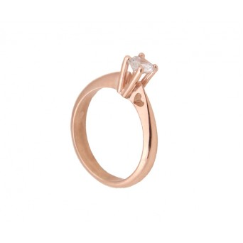 Cr solitaire heart ring with rose gold and zircon 5mm