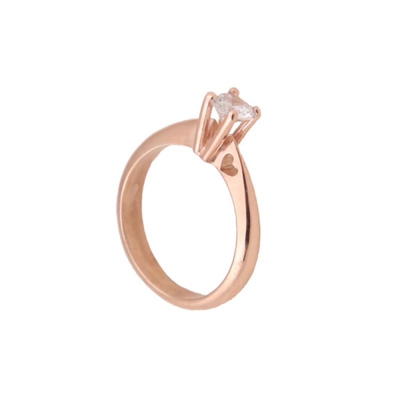 Jt Μονόπετρο δαχτυλίδι καρδιά με ροζ χρυσό 14Κ και ζιργκόν da0dfd1f69f