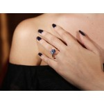 Jt Solitaire engagement ring in 14K rose gold & blue zircon