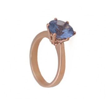 Jt Solitaire ring with rose silver and blue zircon 9mm