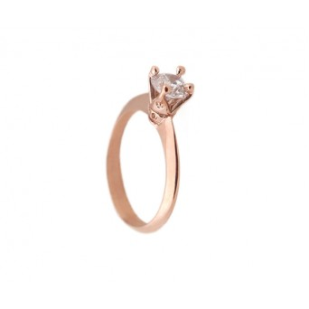 Cr solitaire ring with silver, rose gold and zircon 5mm