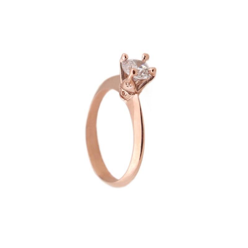 Jt Μονόπετρο δαχτυλίδι με ροζ χρυσό 14Κ και ζιργκόν 5mm 94c2cf85f15
