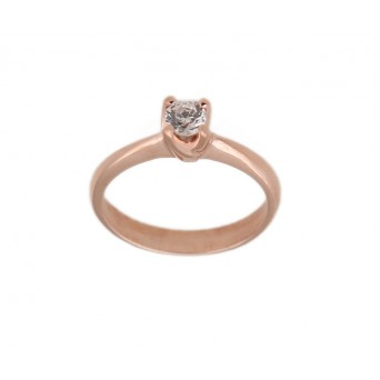 Jt Solitaire silver ring with rose gold and white zircon