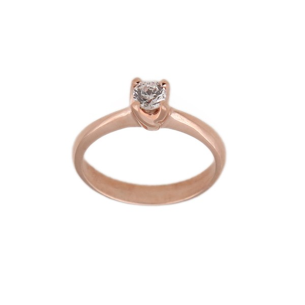 Jt Solitaire engagement ring in 14K rose gold & zircon 6mm