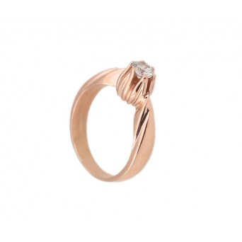 Jt Silver solitaire  ring with rose gold and white zircon