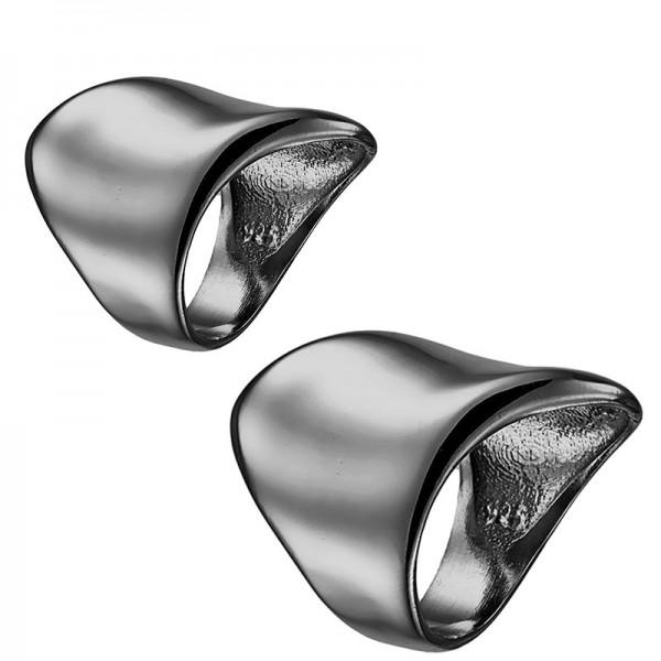 RNG Σετ ασημένια δαχτυλίδια σωλήνες με μαύρο πλατίνωμα